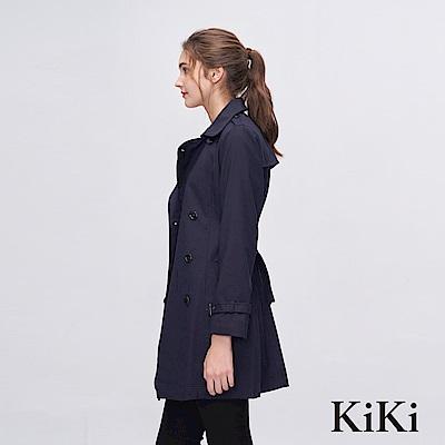 KiKi INLook 都會風個性女子風衣外套(深藍色)