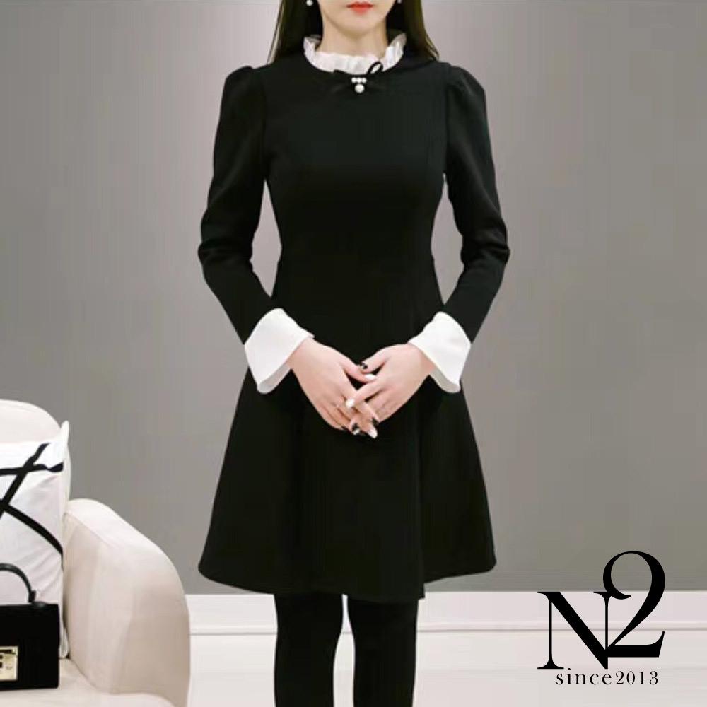 洋裝 正韓蝴蝶珍珠領結撞色雪紡小喇吧袖短洋裝 (黑) N2