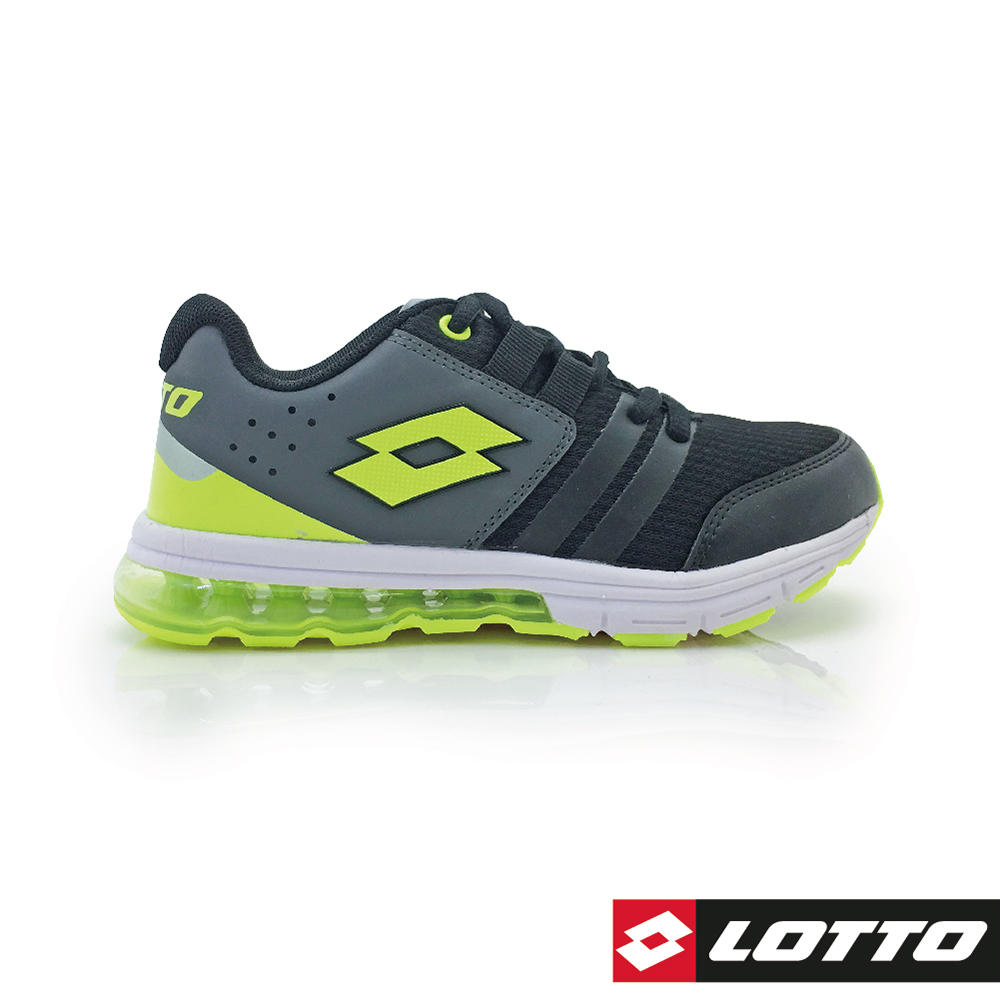 LOTTO 義大利 童 SWIFT RUN 氣墊跑鞋 (黑綠)