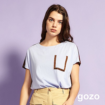 gozo 獨一無二的完美假口袋拼色棉T(淺紫)