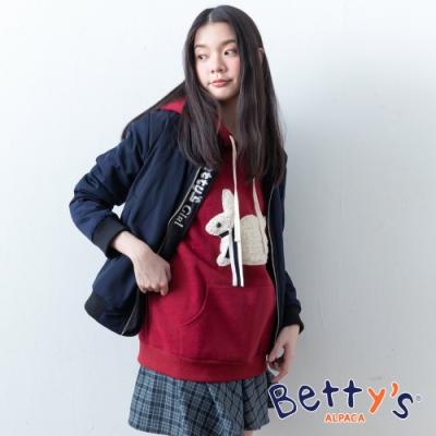 betty's貝蒂思 可愛兔子連帽內刷毛T-shirt(紅色)