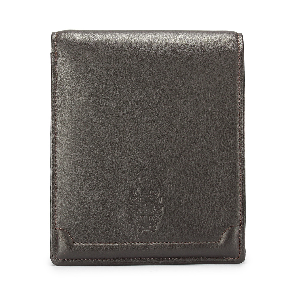 DAKS經典家徽壓紋軟皮革零錢袋短夾-咖啡色