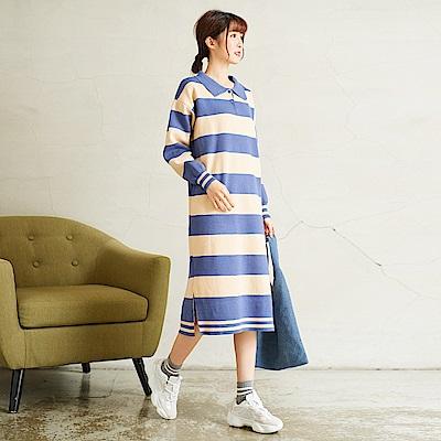 慢 生活 POLO螺紋袖針織連身裙-寬條藍