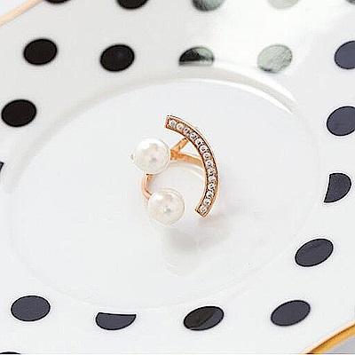 梨花HaNA 韓國笑臉珍珠飾鑽開口戒指