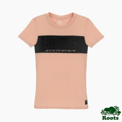 Roots女裝-旅程印記系列 撞色凸面LOGO短袖T恤-粉