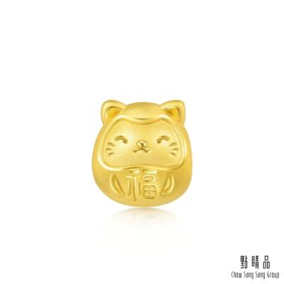 點睛品 999純金 Charme Mini 開運達摩貓 黃金串珠