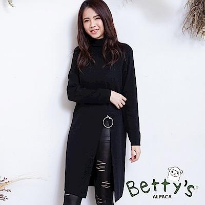 betty's貝蒂思 圓領前擺開衩長版毛衣(黑色)