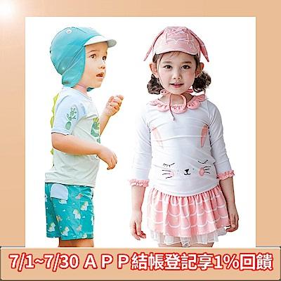 [玩水囉!下殺35折]JoyNa-兒童男女三件式恐龍/白兔泳裝(款式任選)