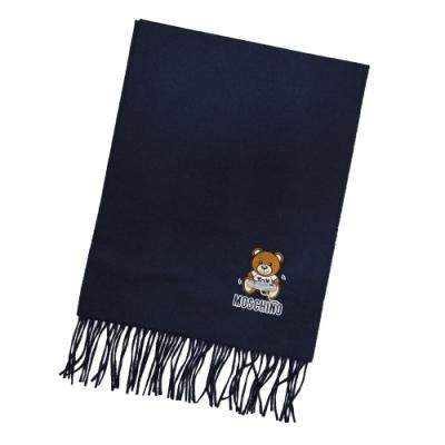MOSCHINO 電動泰迪熊字母LOGO圖案100%羊毛圍巾/披肩 深藍色