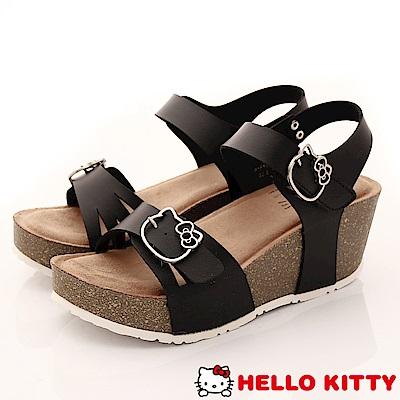 Hello Kitty-休閒厚底涼鞋款-EI18180黑(女段)