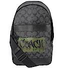 COACH塗鴉LOGO經典PVC單肩後背包(灰)