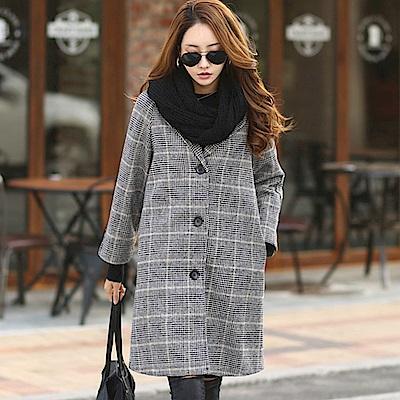 正韓 格紋西裝領長版大衣外套 (灰色)-N.C21