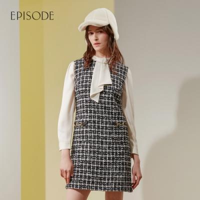EPISODE - 經典優雅黑白花呢修身百搭無袖洋裝
