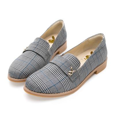 PLAYBOY 法式優雅 英倫時尚低跟樂福鞋-灰格