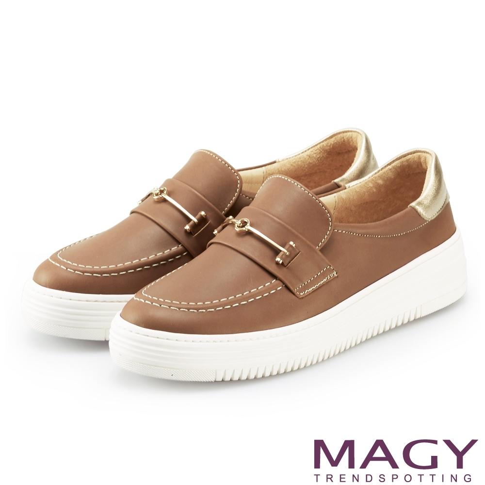 MAGY 雙皮革金屬飾條厚底 女 休閒鞋 棕色
