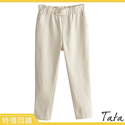 鬆緊腰前裝飾扣褲 TATA-(S~L)