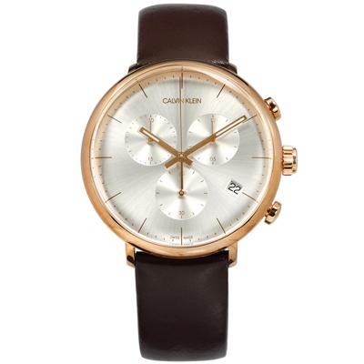 CK 礦石強化玻璃 三眼計時 日期 夜光 瑞士製造 皮革手錶-銀x玫瑰金框x咖啡/43mm