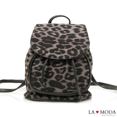 La Moda性感實用兼具多背法大容量豹紋肩背斜背後背包