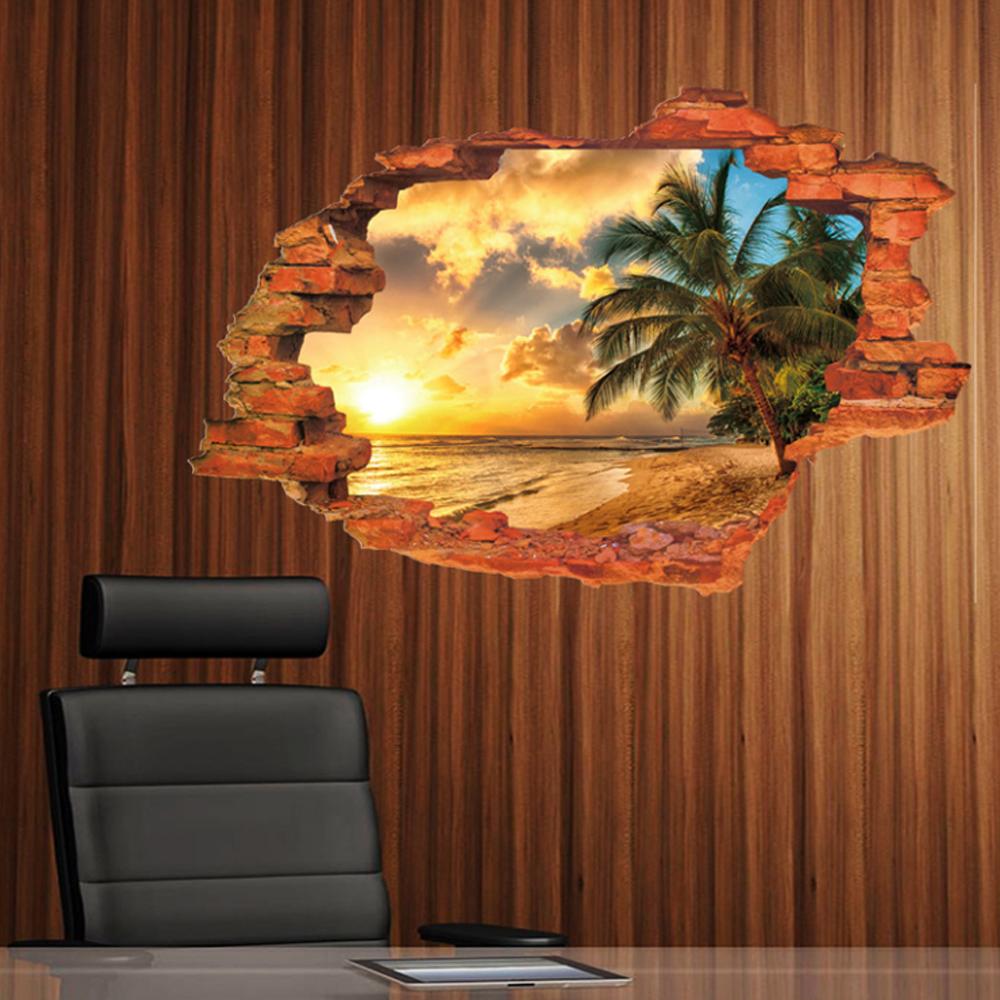 半島良品 DIY無痕壁貼-日落海景 MJ8024C 60x90cm