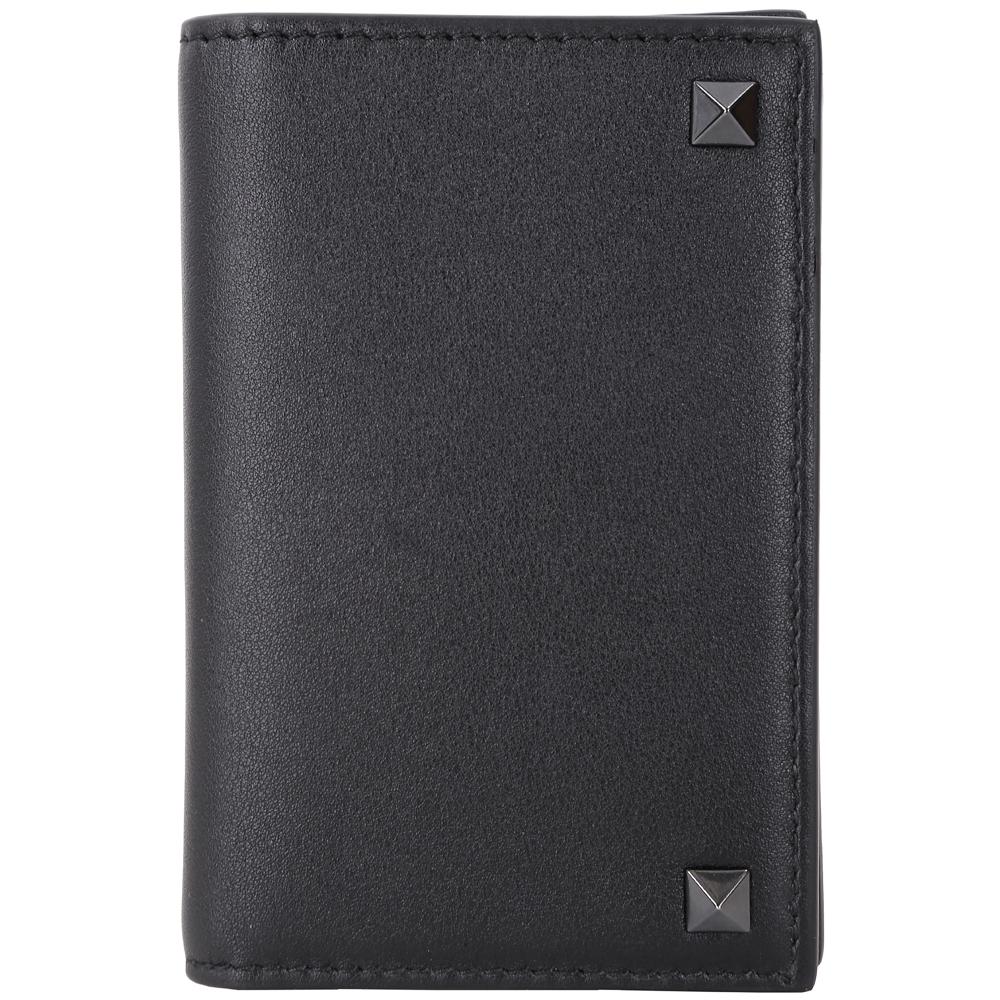 VALENTINO Rockstud 小牛皮鉚釘萬用卡片夾(黑色)