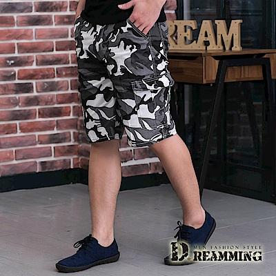 Dreamming 夏日薄款迷彩伸縮休閒工作短褲-灰白