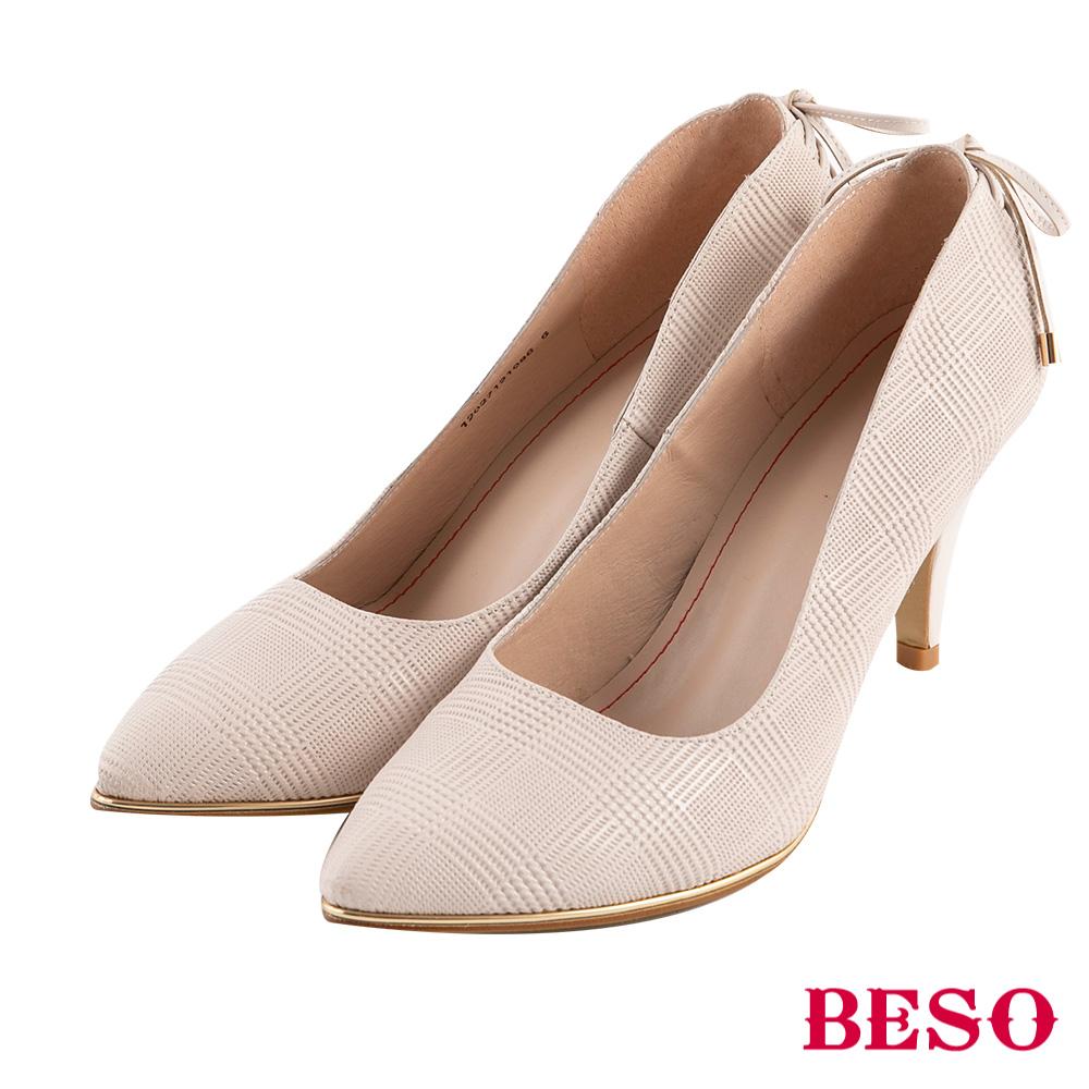 BESO 危險曲線 蝴蝶結綁帶高跟鞋~米