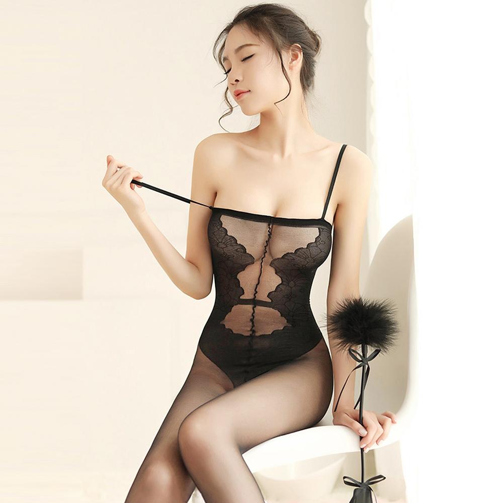 情趣睡衣 超彈連身絲襪開襠衣 EM衣柔魅姬-黑色