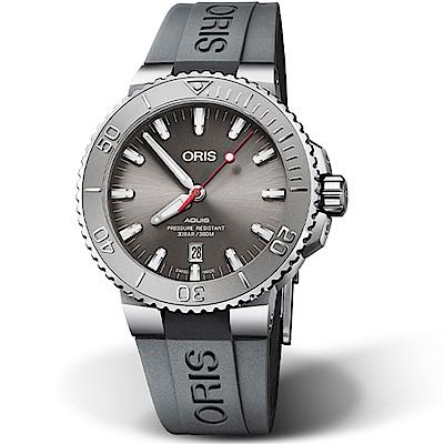 Oris豪利時Aquis Relief防水300M潛水機械錶-43.5mm(橡膠/灰)