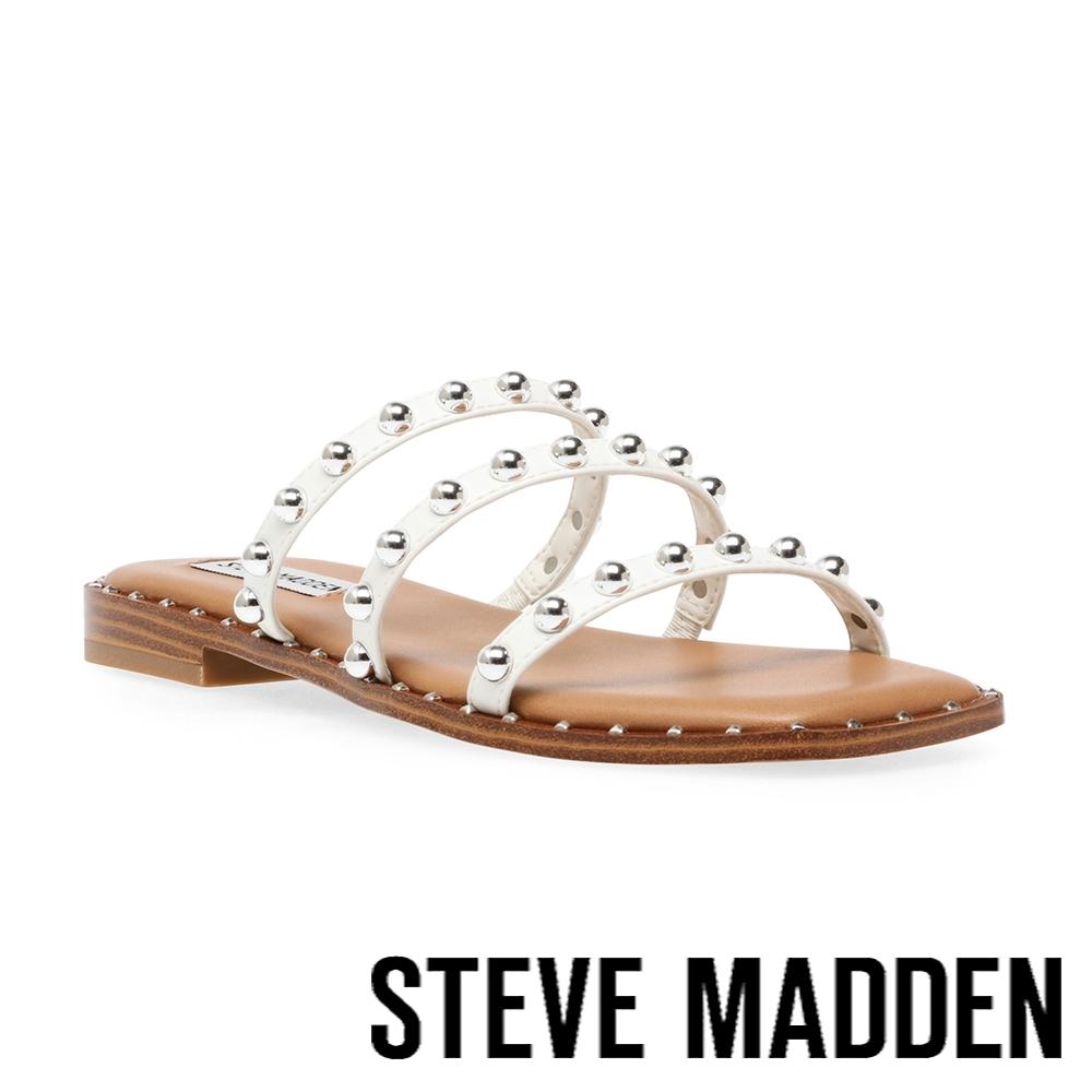 STEVE MADDEN-TAYRA 珠珠細帶平底涼拖鞋-白色