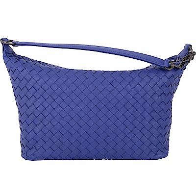 BOTTEGA VENETA 經典小羊皮手工編織肩背包(寶藍色)