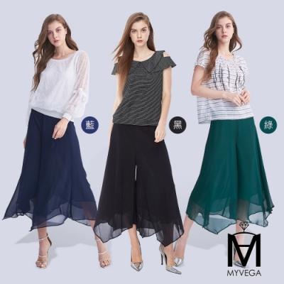 [時時樂限定] 麥雪爾 MA雪紡飄逸寬鬆七分褲-共三色