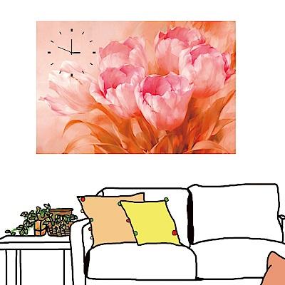 美學365 單聯 無框畫 時鐘掛畫-粉紅花卉 40x60cm