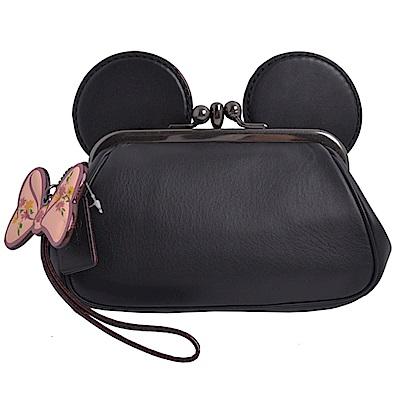 COACH x DISNEY聯名款 耳朵造型釦式雙層大手拿包-經典黑