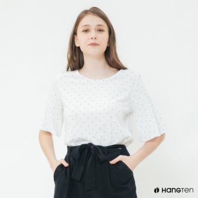 Hang Ten-女裝-荷葉袖圓點造型上衣-白
