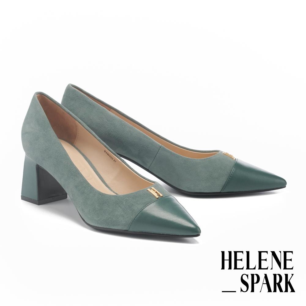 高跟鞋 HELENE SPARK 異材質拼接金屬H釦全真皮尖頭高跟鞋-綠