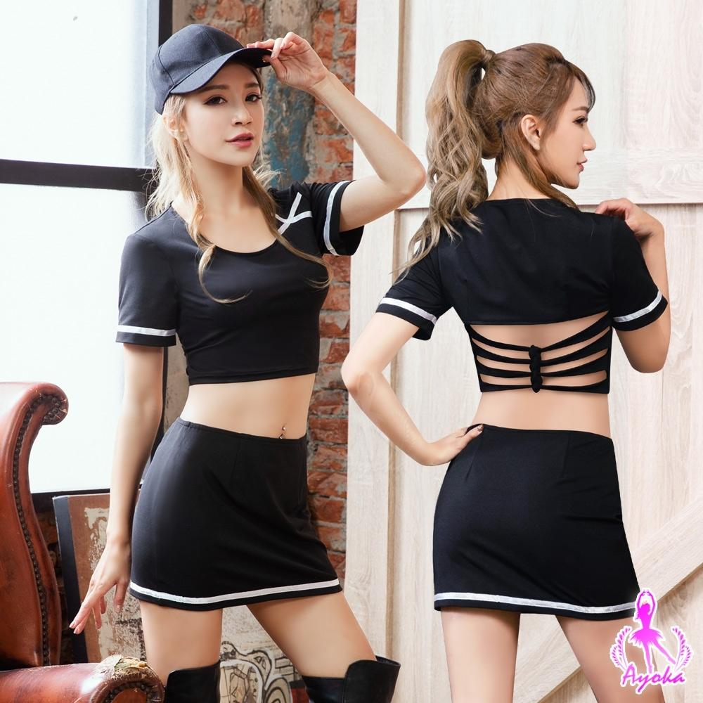 Ayoka 角色扮演 性感啦啦隊女郎角色扮演服三件組-黑F