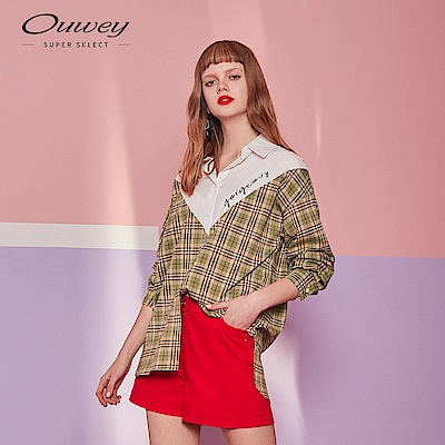 OUWEY歐薇 格紋拼接長版襯衫(粉/綠)