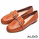 ALDO 原色真皮一字金屬環釦帶樂福鞋~質感棕色