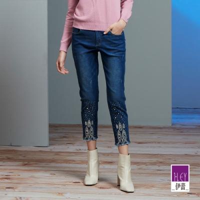 ILEY伊蕾 華麗燙鑽彈性牛仔褲(藍)