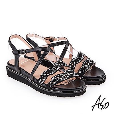 A.S.O 炫麗魅惑 亮麗璀璨平底涼拖鞋 黑色