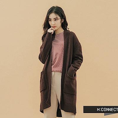 H:CONNECT 韓國品牌 女裝-開襟雙口袋針織外套-棕