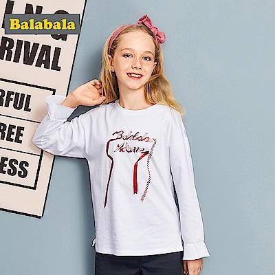 Balabala巴拉巴拉-緞帶圖案英文長袖T恤-女(2色)