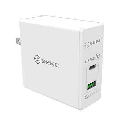 【SEKC】 PD+QC3.0 60W PD牆充充電器(2孔-白)
