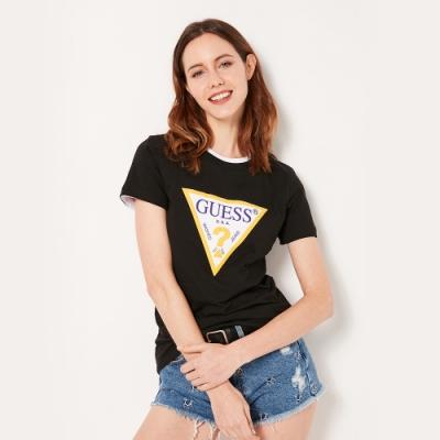 GUESS-女裝-跳色經典倒三角logo短T-黑
