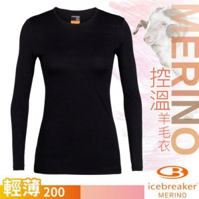 Icebreaker 女 200 Oasis 美麗諾羊毛輕薄款長袖圓領上衣_黑