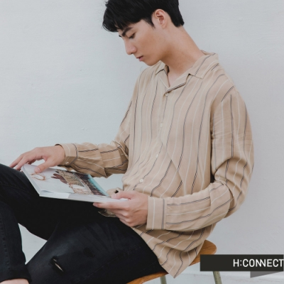 H:CONNECT 韓國品牌 男裝 -雙色直條紋襯衫-卡其