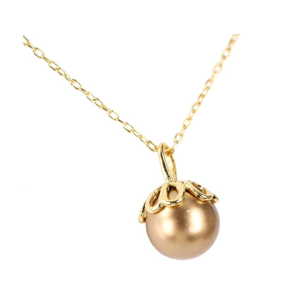 Kate Spade  桃心四葉花鑲人造珍珠項鍊 (金色)