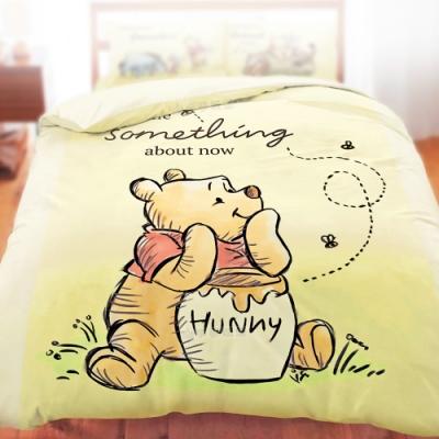 享夢城堡 雙人冬夏兩用被套6x7-迪士尼小熊維尼Pooh 蜂蜜小事-米黃.藍