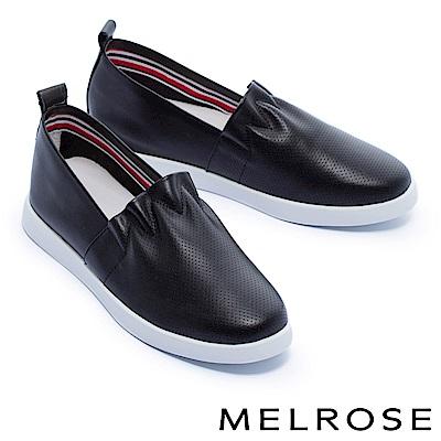 休閒鞋 MELROSE 簡約清新抓皺荷葉邊厚底休閒鞋-黑