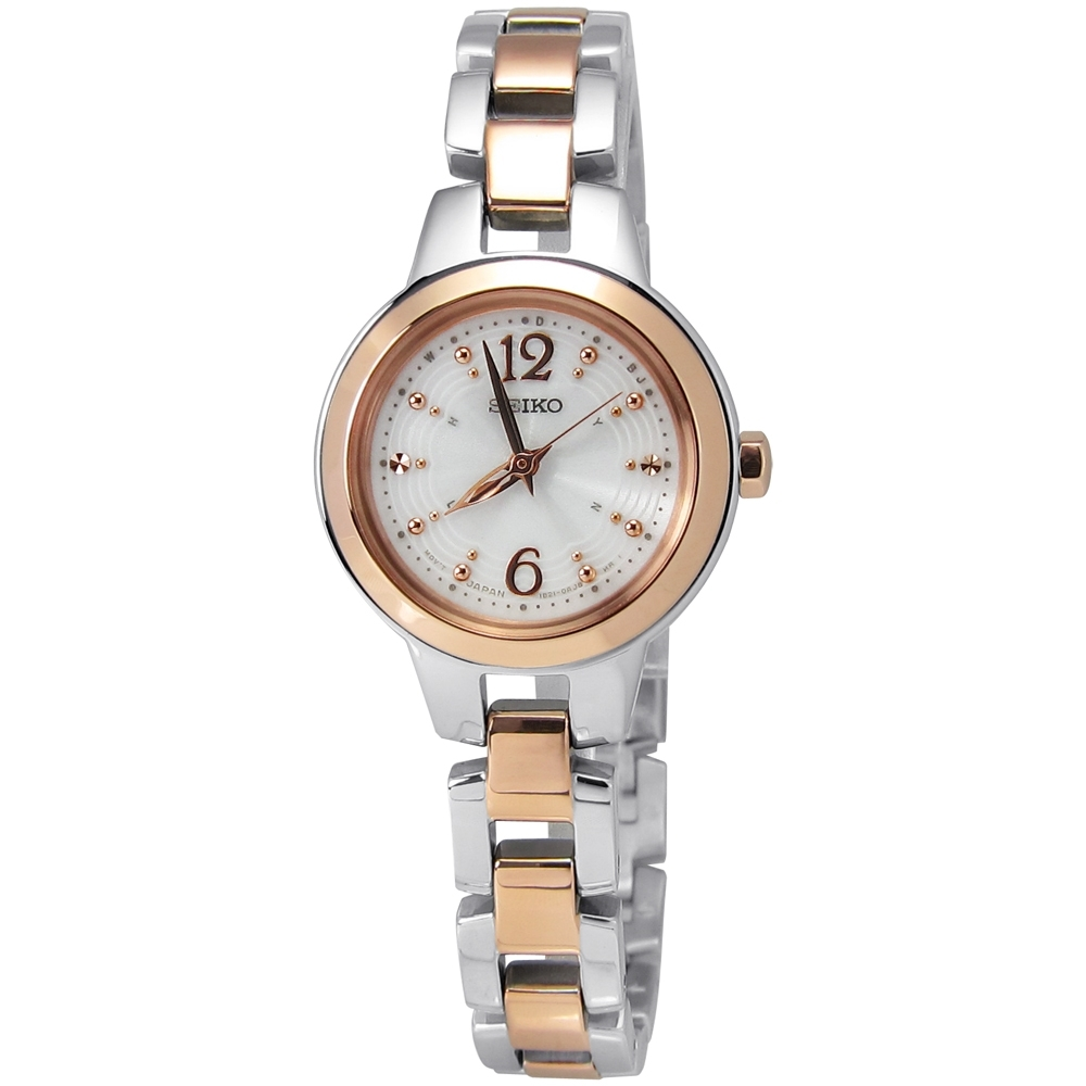 SEIKO 精工 Vivace 巴黎風情 太陽能 電波 鋼帶腕錶-玫瑰金色/25mm